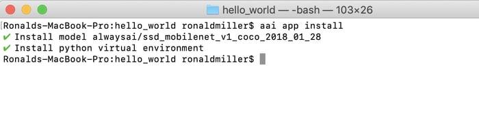 Screenshot of the alwaysAI app install command