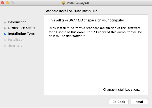 Screenshot of alwaysAI installation type