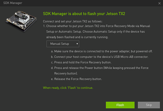 Screenshot of the device flashing manager and and credential of the Jetson TX2