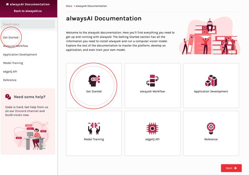 Screenshot of alwaysAI documentation for install computer vision