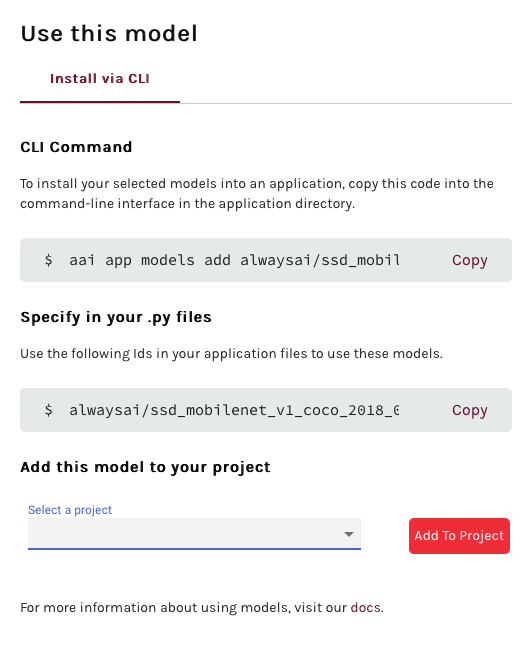 Screenshot of alwaysAI model installation