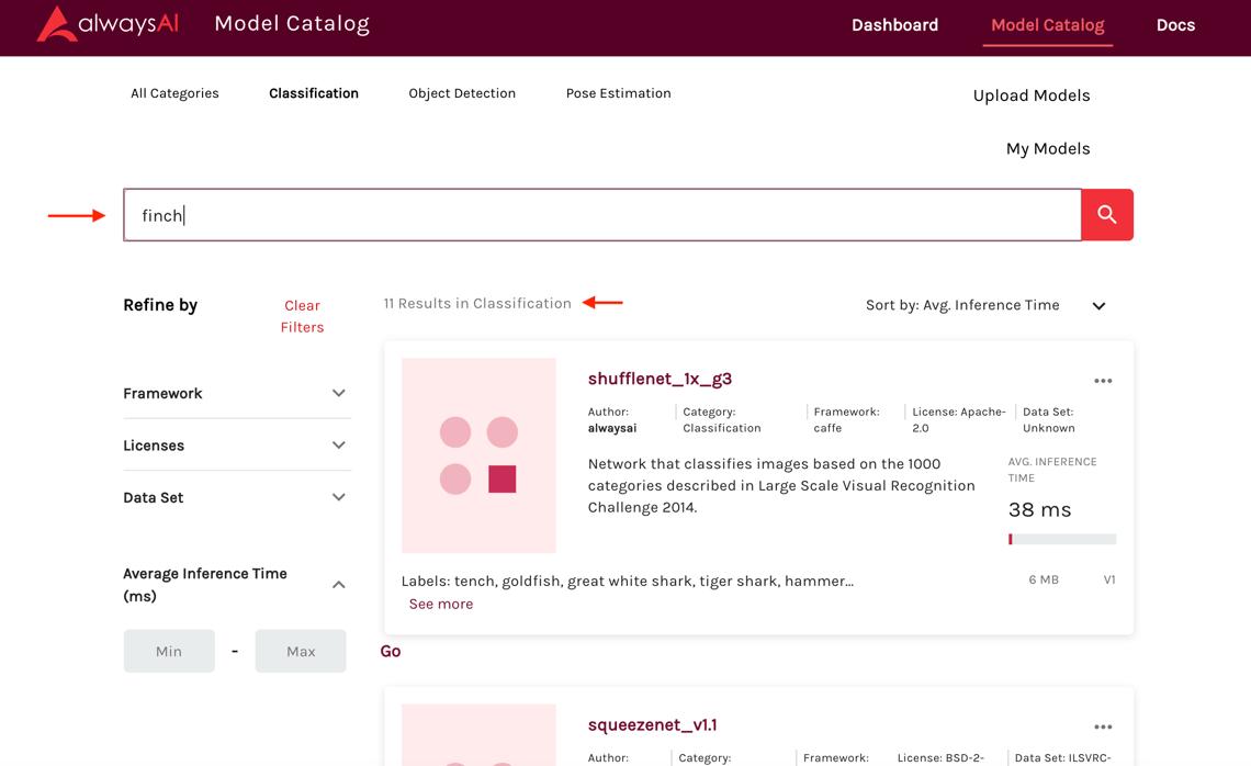 screenshot alwaysAI Model Catalog