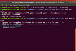 Ubuntu coding from alwaysAI page