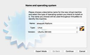 Screenshot. Installing the alwaysAI Platform on Install Ubuntu Desktop