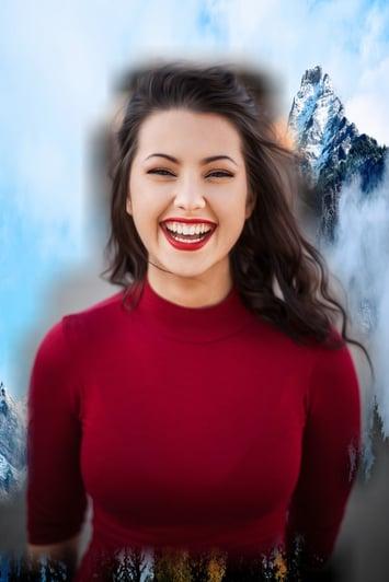 Girl smiling. example of Semantic Segmentation