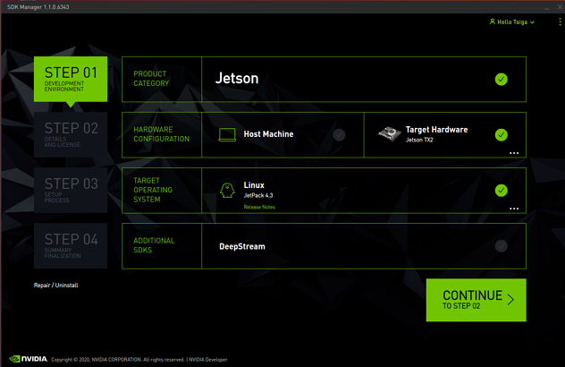 Screenshot of the device flashing JetsonTX2
