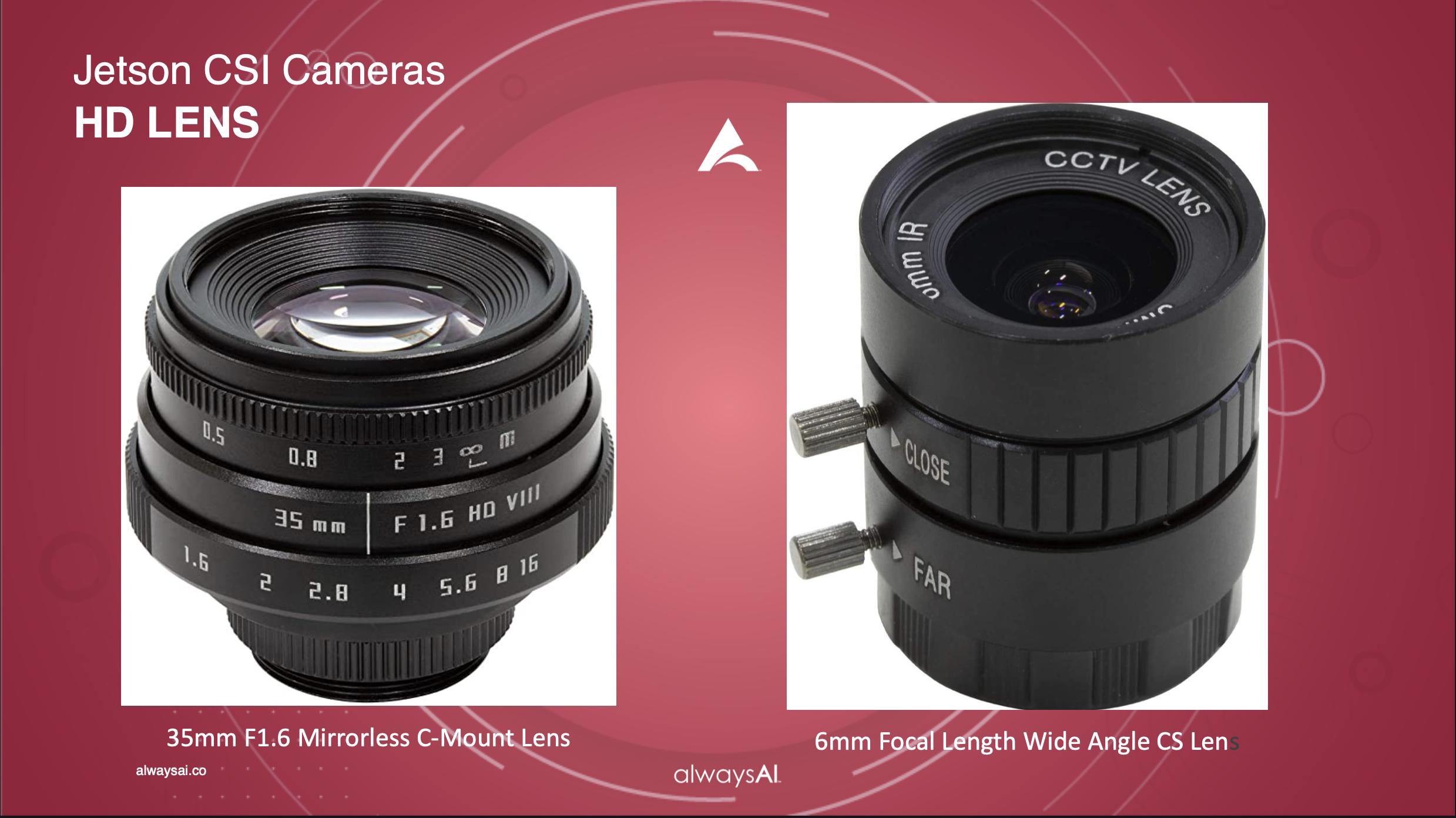 Jetson CSI Cameras HD Lens Comparisons