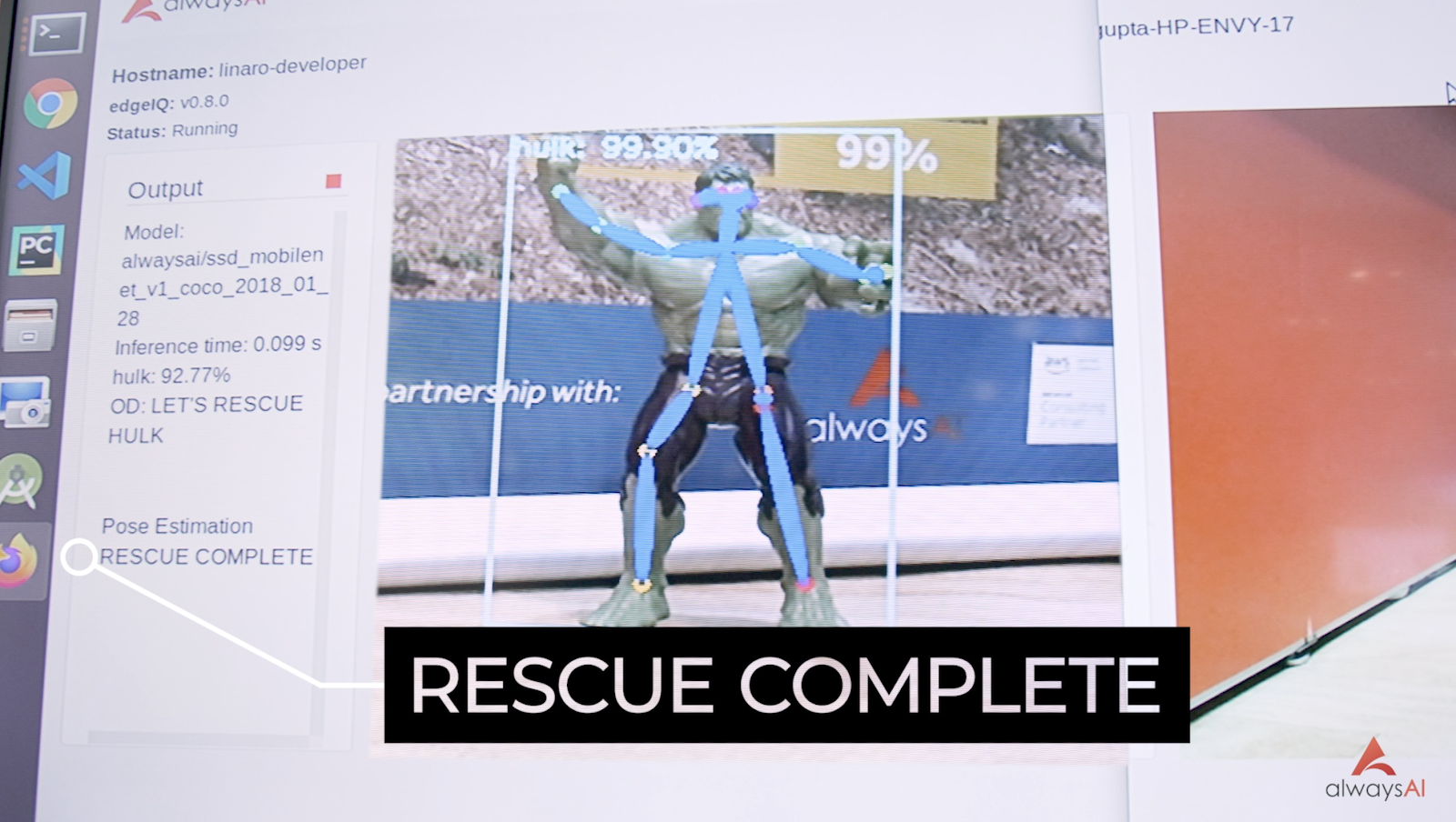 Pose estimation and object detection networks show Hulk has been rescued