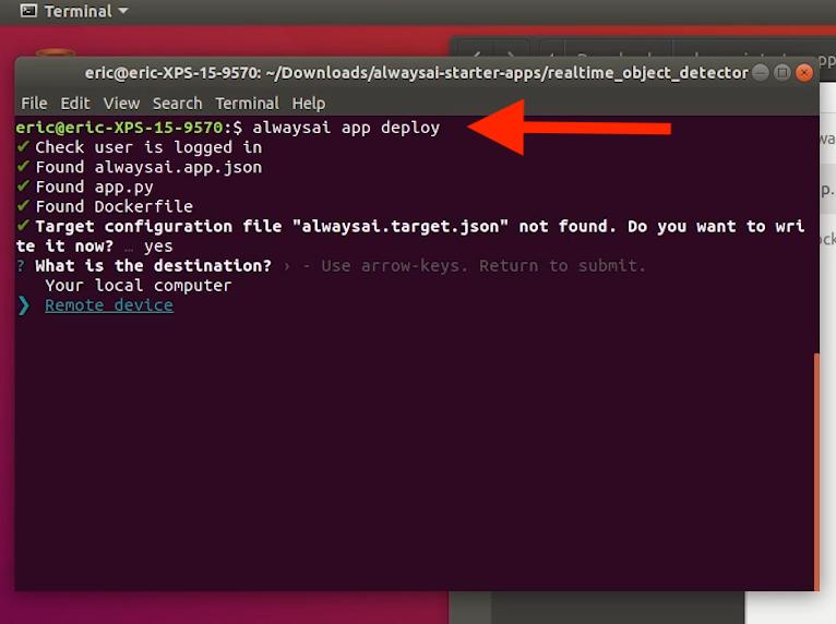 Screenshot of the alwaysAI app deploy command.