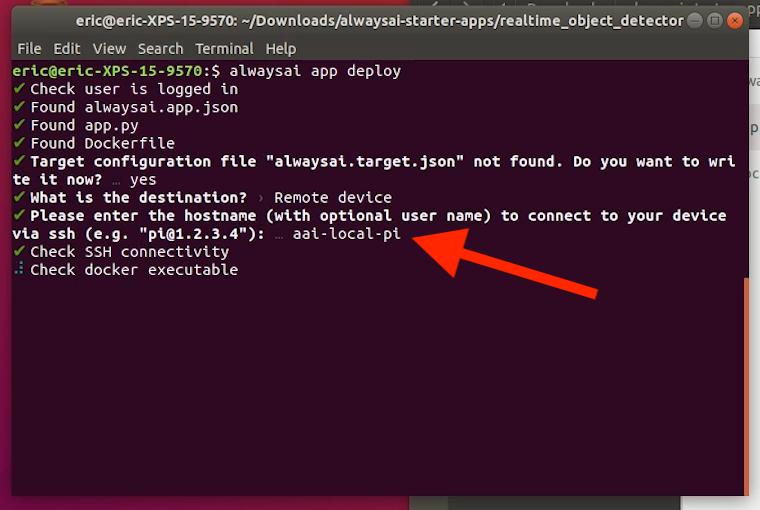 Screenshot of the Raspberry Pi 3 B+. from alwaysAI