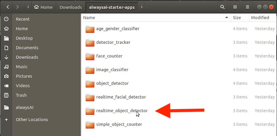 Screenshot of the real-time object detector from alwaysAI