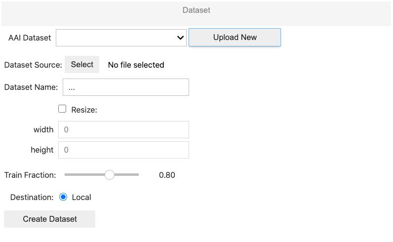 screenshot of the train/validation split. example of  AlwaysAI Model Training